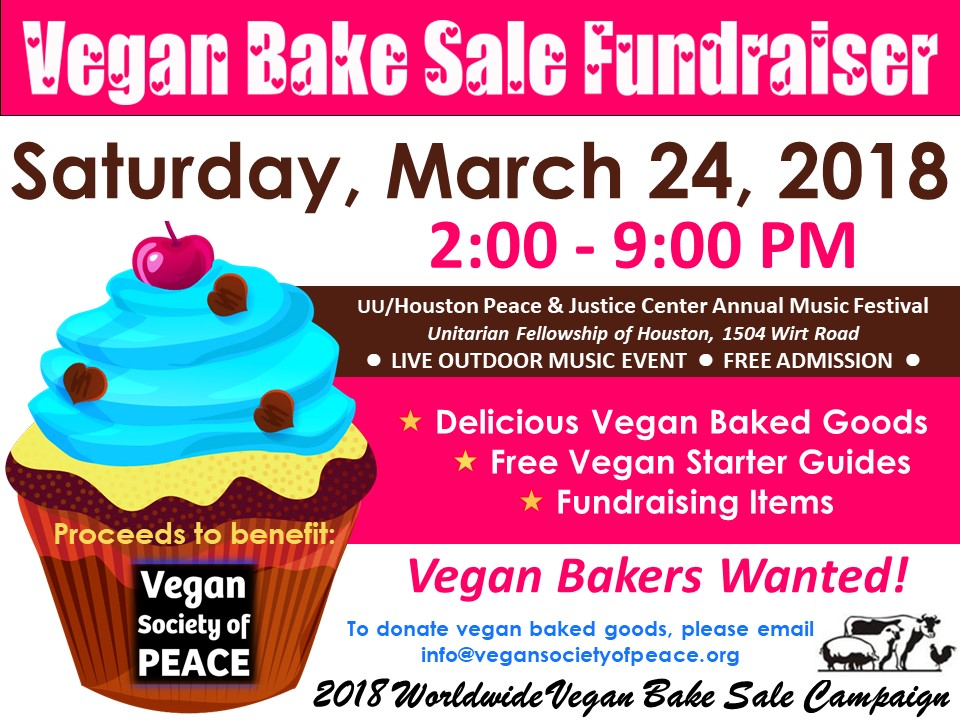 Vegan Society of PEACE Houston Bake Sale 2018