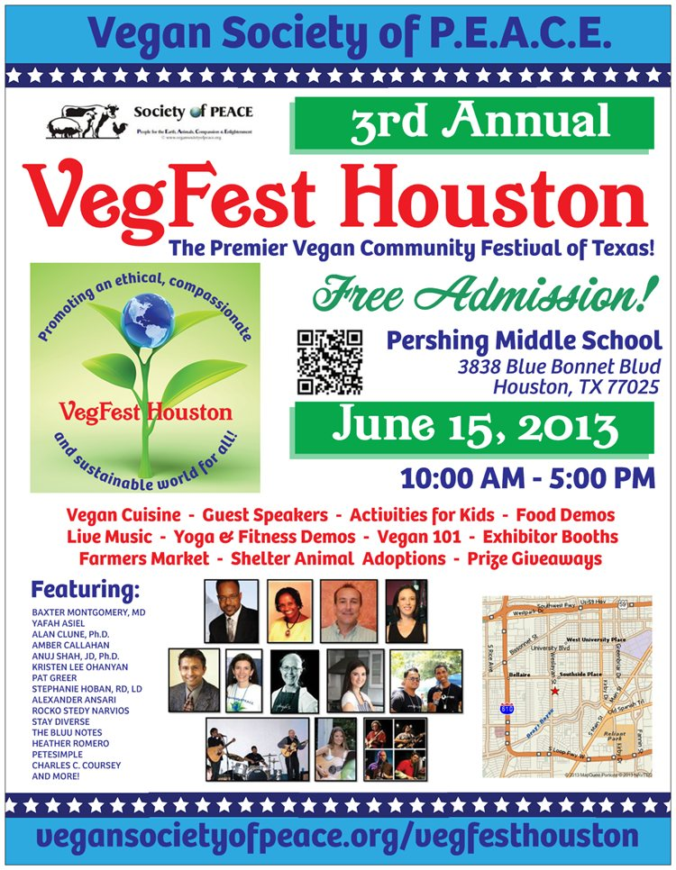Vegan Society of PEACE VegFest Houston 2013 Awesome FLYER