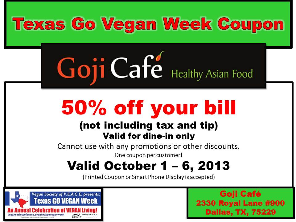 Goji Cafe 2013 Coupon
