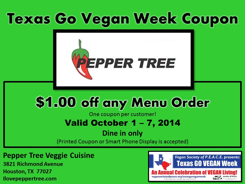 Pepper Tree Veggie 2014 Texas Go Vegan Week Coupon