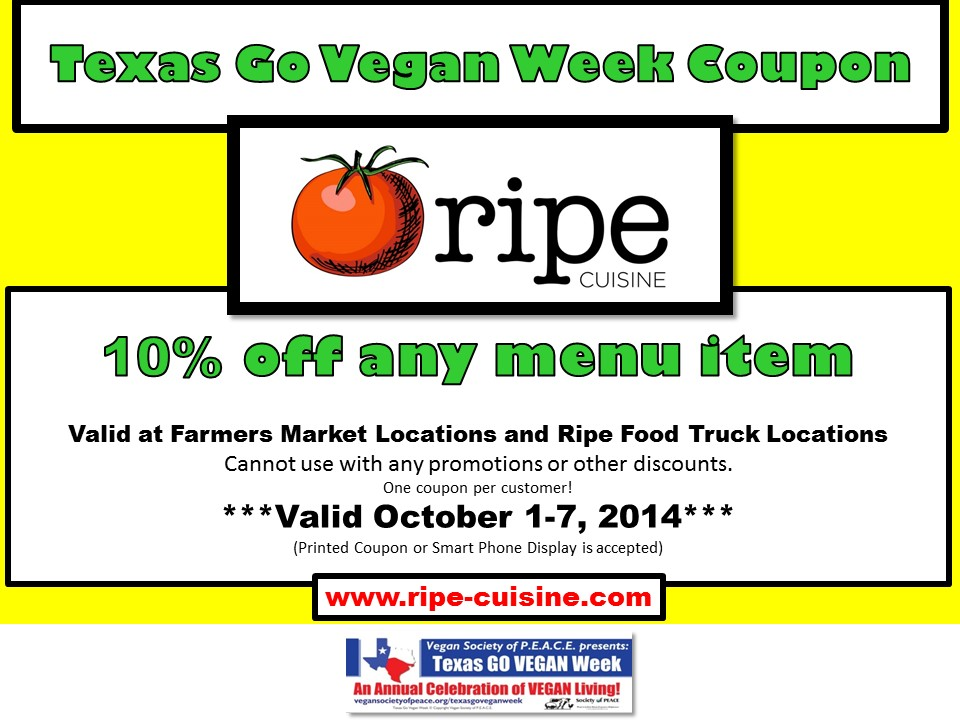 Ripe Cuisine 2014 Texas Go Vegan Week Coupon