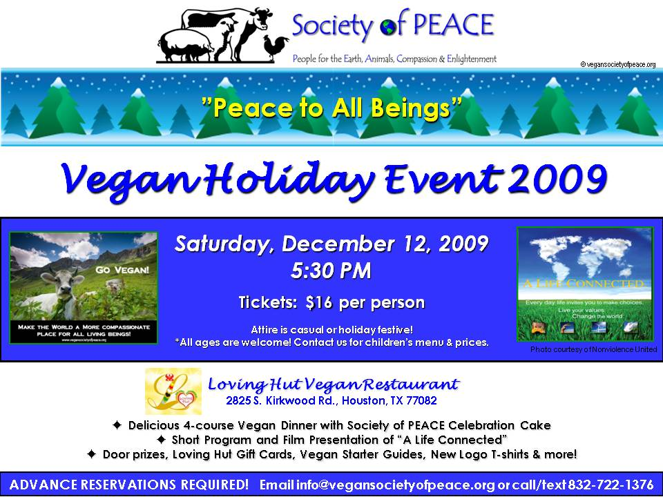 SOP Vegan Holiday Peace to All Beings Event Dec 2009