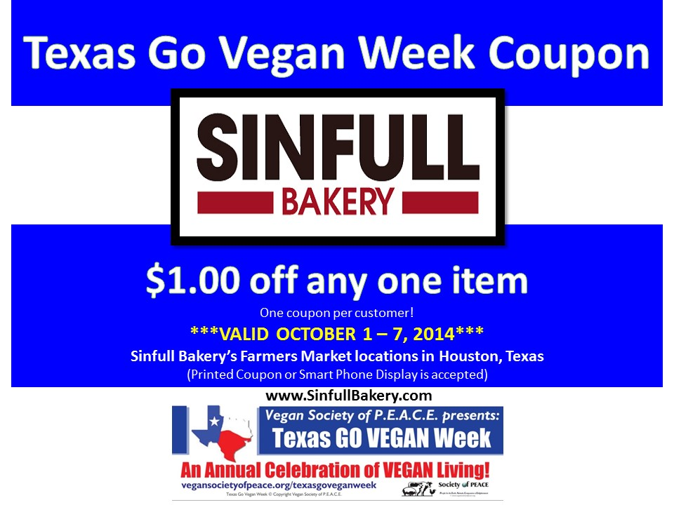 Sinfull Bakery 2014 Texas Go Vegan Week Coupon