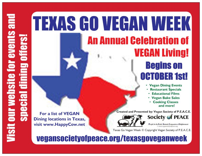 Texas Go Vegan Week Vegan Society of PEACE
