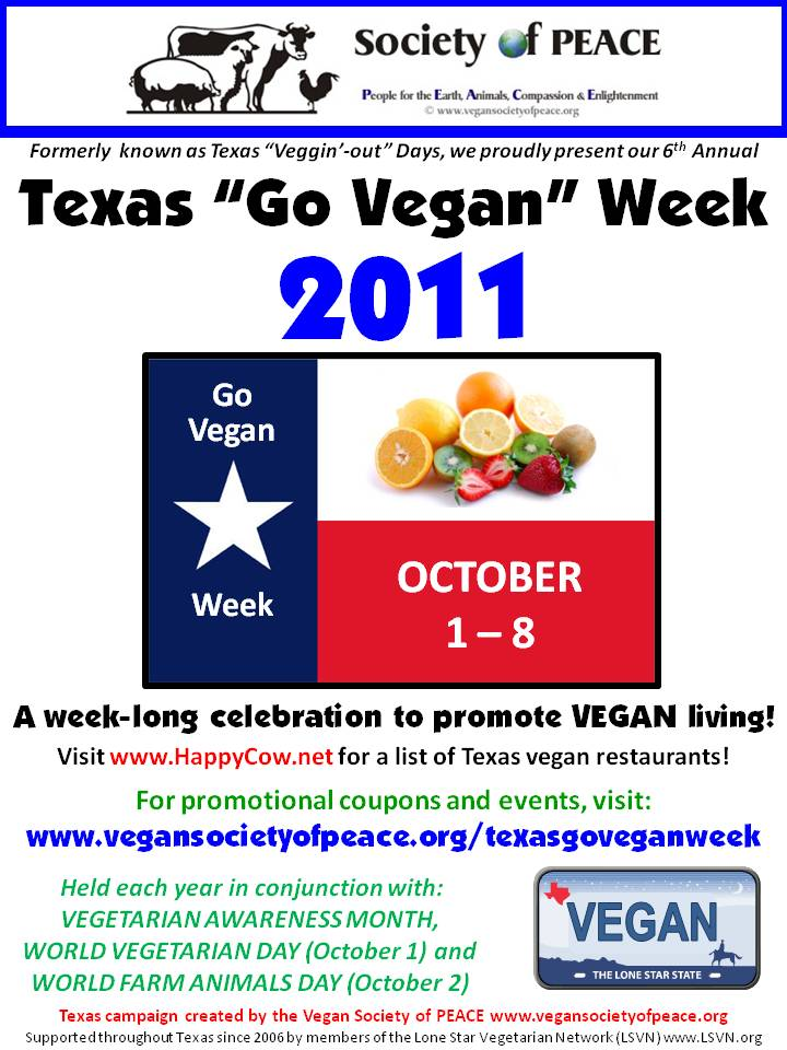 Vegan Society of PEACE Texas Go Vegan Week